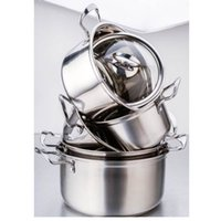 Wholesale Cookware Set Family Stock Pots Tirclad Bottom Quality Stainless Steel cm Stock Pots Glass Cover