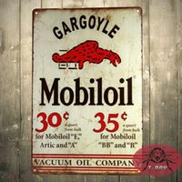 Wholesale Mobiloil oil Mobiloil Gar goyle Tin Metal Sign Decor Gas Oil Car Automobile
