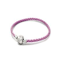 achat en gros de charme européen cuir bracelets de perles-Nouveau Simple 925 argent Bracelets en cuir Chaînes 18cm 19cm 20cm Fit Européenne Charm Beads