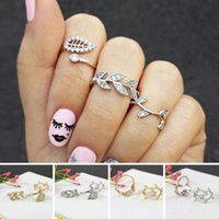 Wholesale Hot set New Gold plated Silver Plated Sweet Rhinestone Leaf Midi Knuckle Top of Finger Rings