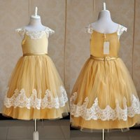 Wholesale Kids White Casual Wedding Dress - Yellow Lovely White Lace Flower Girls' Dresses With Sash Floor Length Long Girls Casual Dresses Cheap Kids Party Gowns MC0199