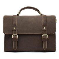Wholesale Hot Sale Crazy Horse Leather Men Bags Casual Briefcase Portfolio Genuine Leather Business Bags Messenger Shoulder Bag Lapt shoulder tote bag