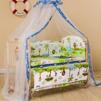 Wholesale Wood crib lacquerless baby bed table multifunctional child bed cradle BB bed with mosquito net