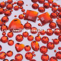 art element shape - 1110pcs Red Mix size Mix Shape Acrylic Diamond Flatback Rhinestone D Nail Art Decoration deco supplies