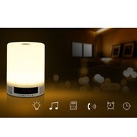E27 alarm switch box - Wireless Bluetooth Speaker Music Sound Box with Alarm Clock Function Touch LED Table Lamp Support Hands free Call TF Card Slot