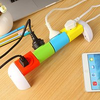 Wholesale Colorful Rotation Power Strip degrees Rotating Modularization Power Outlet Smart Network Filtert Modular Smart Power Plugs