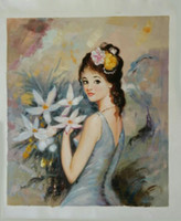 Wholesale Sell hand painted canvas oil painting modern fasion figure elegant young girl for home office decor dinning room bedroom in