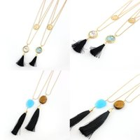 beaded fringe wholesale - 4 Colors Black Tassels Pendant Necklace k Gold Beaded Chain For Women s Jewelry Collar Circle Sapphire Fringe Necklace