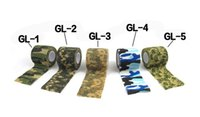 Wholesale 5CMx4 M Roll Non woven Army Elastic Camouflage Adhesive Tape Bandage Camping Hunting disguise Gun Stretch Waterproof Wrap