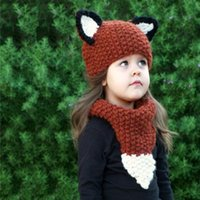 baby hand knit sets - DHL free ship hat scraf set new children s knit hats cartoon animal fox hand woven baby hats caps scarf two piece kids winter hats