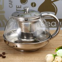 Wholesale 0 L Steel Stainless Glass Teapot Water Kettle With Filtering Mesh Modern Design Infuser Herbal Heat Resistant