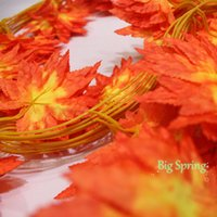 autumn leaves garland - A Strip Of Artificial Maple Leaf Long Vine Garland Silk Autumn Fall Leaves Wedding Garland Garden Yard Trendy Foliage Decor