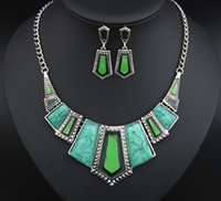 african grey gifts - New Arrival Jewelry Set Red Green Blue Grey Color Resin Stones Epoxy Necklace Earrings Women Fashion Geometric Necklaces Small