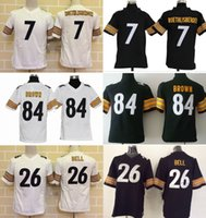 bell drop - 2016 Youth Jerseys Ben Roethlisberger Le Veon Bell Antonio Brown Kids Stitched Jerseys Free Drop Shipping