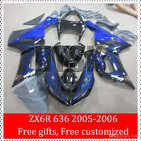 Cheap For 2005 2006 Kawasaki Ninja 636 ZX6R ZX-6R 05 06 ZX 6R Blue Fire Flame Fairing Kits OEM Racing Motorcycle Parts Black Glossy Cowling
