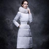 Women belted puffer coat - Fashion Down Jacket Coat With Fur Collar Belt Slim Puffer Outwear WOMEN Light Weight Down Jacket Winter Coat