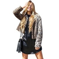 Wholesale Chic Designer Elegant leopard faux fur coat Fluffy warm long sleeve female overcoat Autumn winter coat women short basic jackets