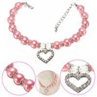 Perle collier pendentif Prix-Mignon collier de chien collier de perles avec strass en forme de coeur Pendentif Charme Bijoux Syeer J00016
