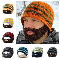 beanie with beard - Halloween Costumes Hats for Men Winter Novelty Knitting Wild Men Hat with Beard mask High Quality Hat Colorful Hats Colors