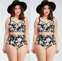 big bandages - 2016 New High Waist Swimsuit Plus Big Size Swimwear Women XXXL XL Bandage Bikini Set Bathing Suit Print mailot de bain taille haute