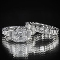asscher setting - 10 ct GIA Vintage Asscher Diamond Engagement Ring Matching Eternity Set H VVS1