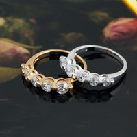 Wholesale Hot Shiny Gold Silver Plated Zircon Crystal Rings Wedding Bridal Rings For Women Girls Jewelry
