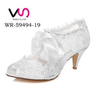 Wholesale 6 cm High Ivory Color Nice Lace Bootie Bridal Shoes Wedding Dress Shoes Handmade Shoes Evening Shoes Prom Party Shoes Size35