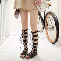 Wholesale Shoe N Tale New Women Leather Knee high Gladiator sandals women Long lace up and zip summer sandals Flat heels women shoes