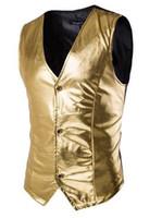 Wholesale Fashion bronzing fabric vest brand Single breasted vest hot sale hunting high quality down vest suit vest fashion