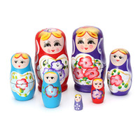 Wholesale Lovely Russian Nesting Matryoshka Piece Wooden Doll Set Wooden Doll Hand Painted Doll Toy