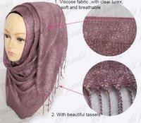 Wholesale Fashion Plain Charm Glitter Shimmer Viscose Lurex Muslim Hijab Shawl Islamic Scarf Head Wrap Multi Color