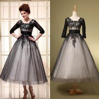 Wholesale Black Mother s Dresses Long Sleeve Tea Length mother of the bride dresses Lace Tulle Lace Up Ball Gown