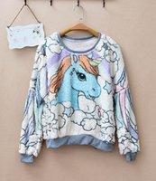 berber fleece pullover - harajuku Sweet berber unicorn panda fleece sweatshirt
