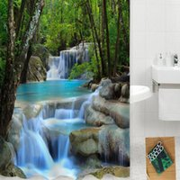 Wholesale 3D Shower Curtains Waterfall Nature Scenery Bath Curtain Water Resistant Shielding Cloth for Bathroom DHL B