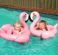 animal shaped chairs - Baby flamingo Shape Swim Ring Ins Cartoon pink Kids Inflatable swimming laps Pool Chair Seat Beach fun boat LJJO63