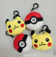 Wholesale 2 Inch cm Poke go Plush dolls toys style children Pikachu Poke Ball Charmander Jeni turtle Keychain Pendants