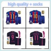 barcelona jersey kit - 2016 high quality Barcelona jerseys kit sock home away SUAREZ MESSI NEYMAR JR jerseys kit