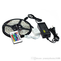 Advertisement SMD 5050 Yes 5050 RGB 60LED LED Strip Light Waterproof 5M roll DC 12V Flexible 300led with remote controller and 5A 5m set 50pcs