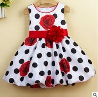 Wholesale baby girls dress Black Dot Red Bow infant summer dress for birthday party sleeveless princess floral vestido infantil