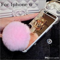 Wholesale Iphone Case Soft TPU Mirror case for iphone s SE s s plus Back Cover With furry fur Ball Hot