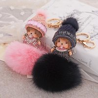 Wholesale MONCHHICHI Cute Christmas Hat Real Rabbit Fur Pompom Keychain Pendant For Car Bag Purse Charms Ornament Lover s Lucky Product Gift