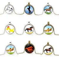 Wholesale Cheap Glass Necklaces - Vintage jewelry 2016 horse pendant necklace steampunk jewellery for women cheap promotion