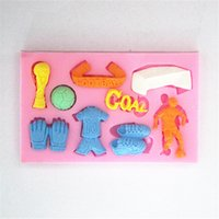 Wholesale Silicone D Cake Moulds Football World Cup Fondant Mold chocolate sugarcraft moules jelly cake decorating tools