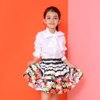 Wholesale Children Autumn Blouse New Fashion Autumn Candydoll Bow Tie All match Kids Girls White Long Sleeve Shirt