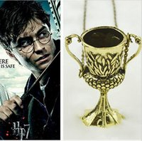 antique loving cup - 2016 Movie Jewelry harry potter hufflepuff cup necklace vintage antique horcrux conversion helga pendant