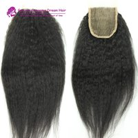 Wholesale 7A Cheap inch Kinky Straight Natural Color Malaysian human Hair Lace Top Closure Products
