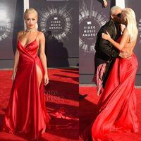 Wholesale Rita Ora Celebrity Red Carpet Dresses Sexy High Slit Backless Deep V Neck Prom Dress MTV VMAs Open Back Formal party gowns
