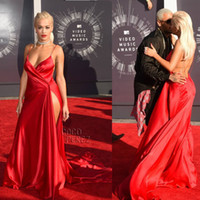 Wholesale Rita Ora Red Sexy High Slit Backless Deep V Neck Celebrity Prom Dress MTV VMAs Red Carpet Open Back