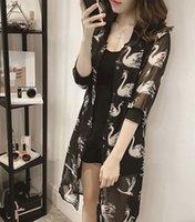 bat cardigan - Women Chiffon Kimono Cardigan Hollow Lace Rim Shawl Regular Floral Print Blouse Half Bat Sleeve Sun Shirts Ladies Clo long cardigan chiffon