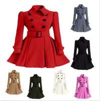 Wholesale Ladies Pink Wool Coats - Fashion Women Lady Coat Long Double-Breasted Wool Trench Parka Jacket Winter Belted Outwear